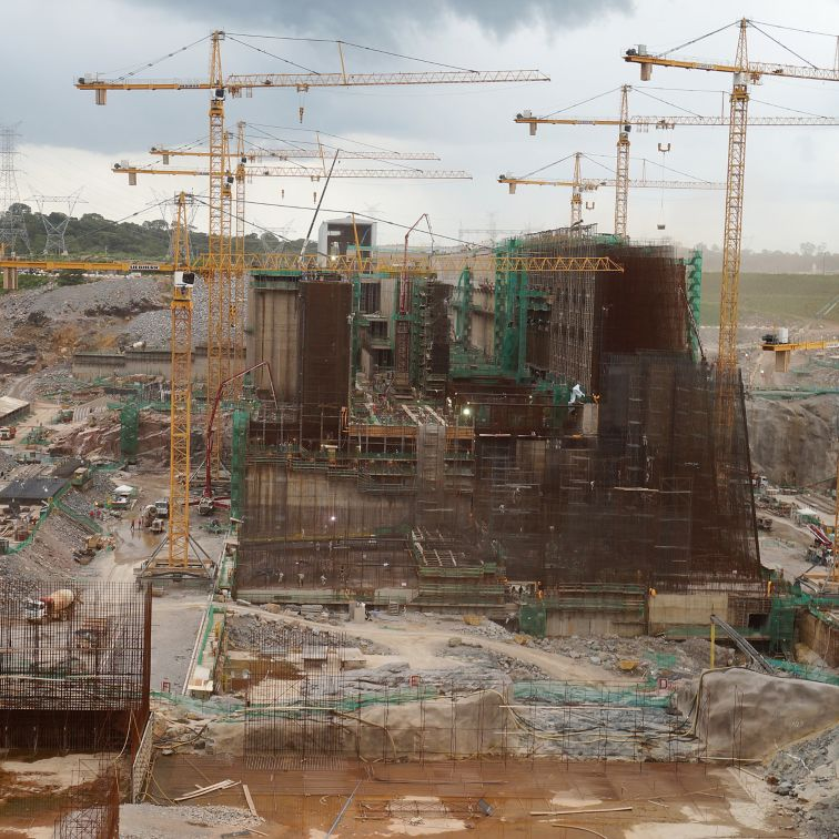 Construction works at Santo Antonio dam in Brazil