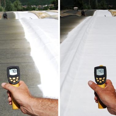 Roof temprature without and with cool roof membrane applied