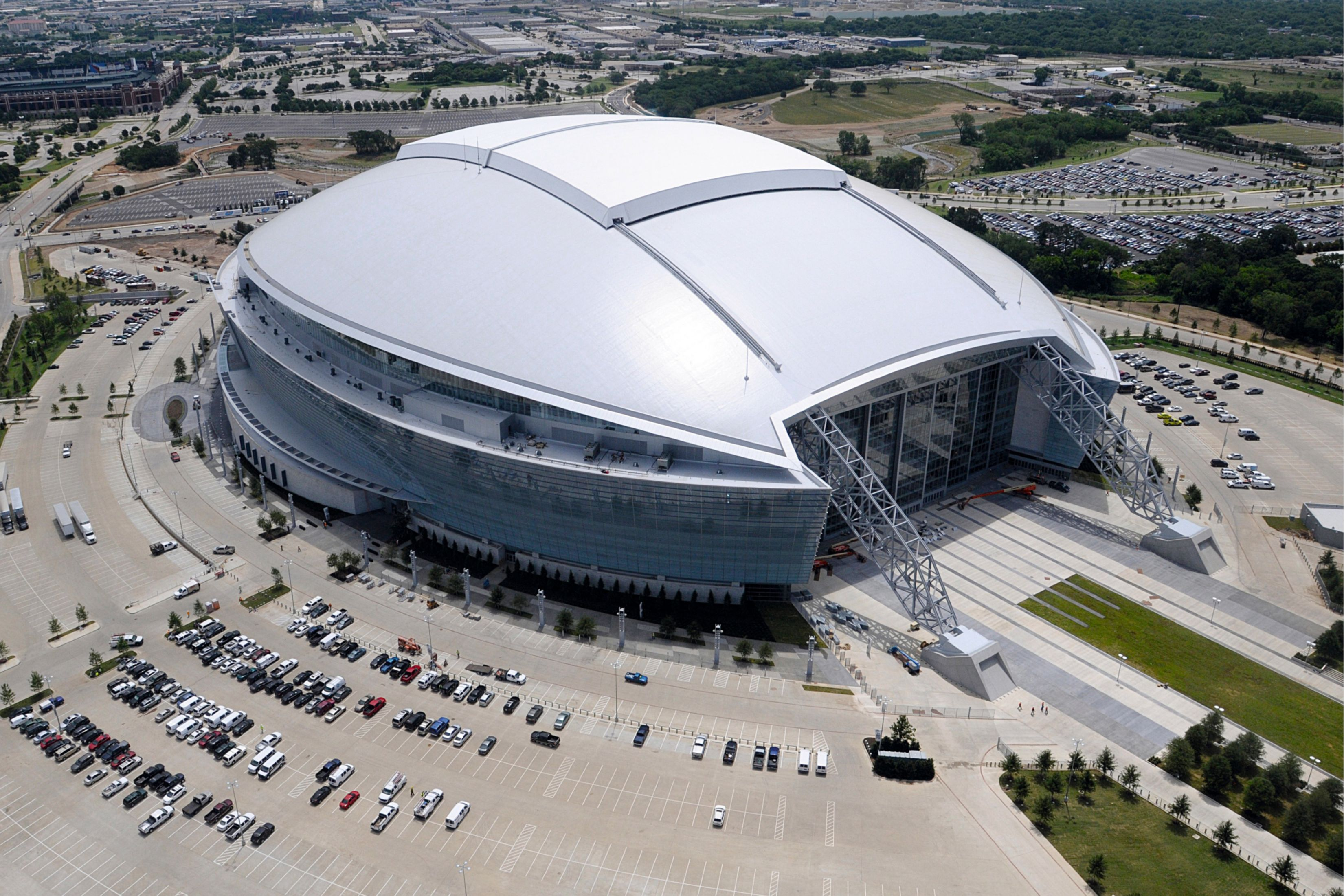Single-ply roof PVC membrane of Sarnafil adhered roofing system installed on Cowboys Stadium in Texas in USA