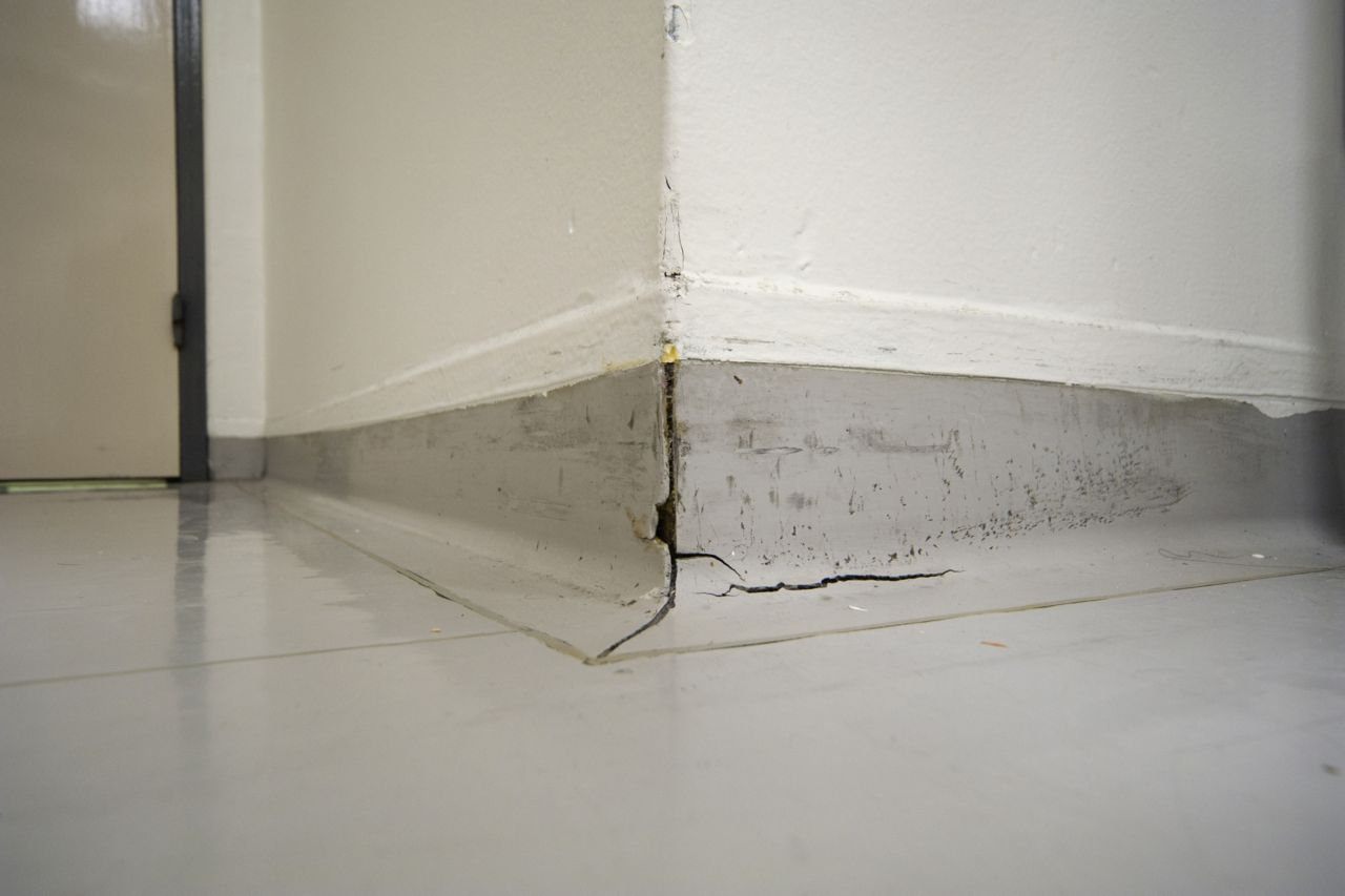 Cracked joint in a healthcare facility