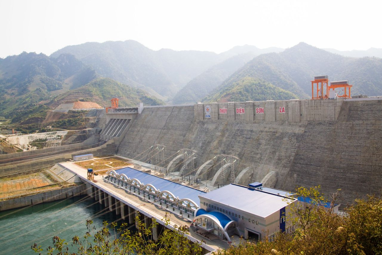 Son La Hydropower Dam Project with mountains in Vietnam