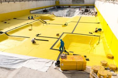 Applying waterproofing membrane at the basement of a data center