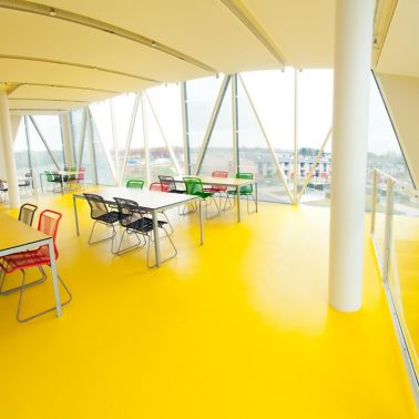 Decorative floor made with Sika ComfortFloor system