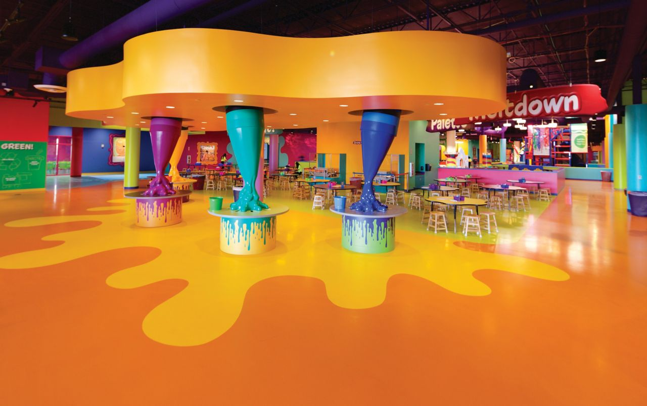 Colorful decorative floor made with Sika ComfortFloor system in Crayola Experience in Florida