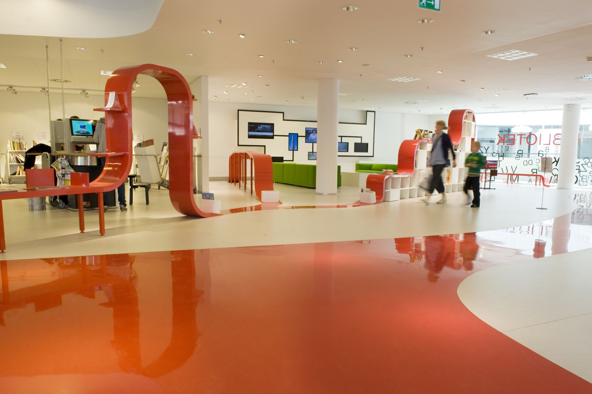 Colorful orange and white decorative floor made with Sika ComfortFloor system in Hjorring Library in Denmark
