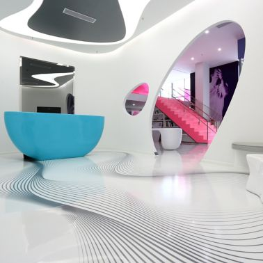 Decorative white floor made with Sika ComfortFloor system at Karim Rashid Design Institute in Shenzhen, China