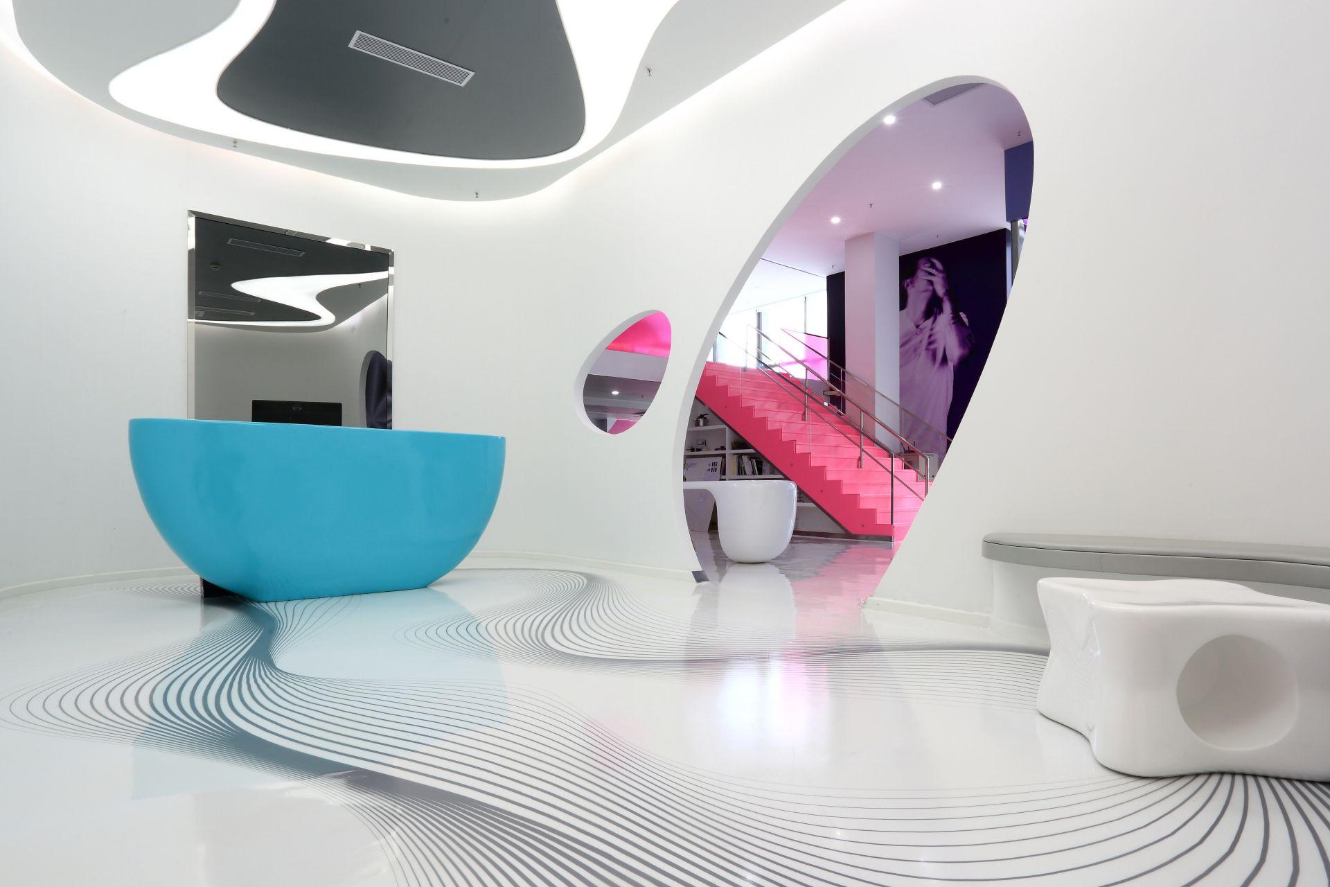 Decorative white floor made with Sika ComfortFloor system at Karim Rashid Design Institute in Shenzhen, China