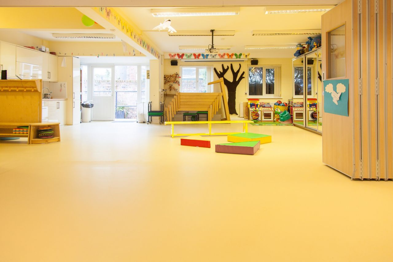 Classroom floor of Stick 'n' Step Charity School in Merseyside, UK