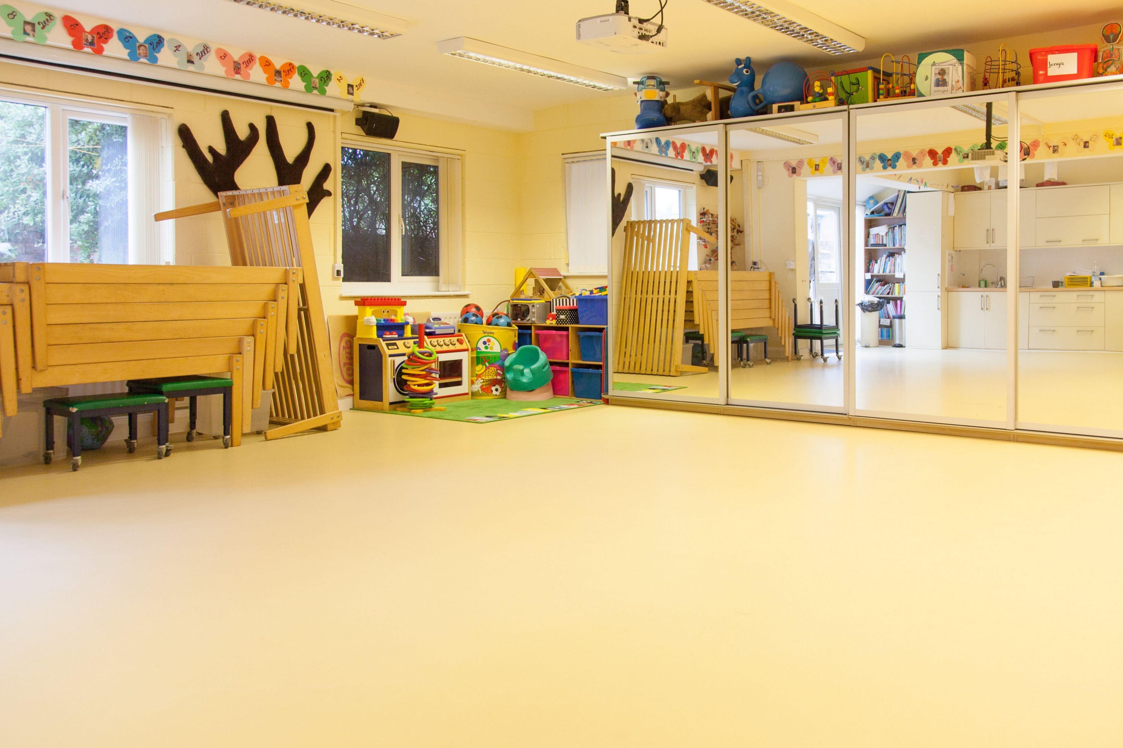 Classroom floor of Stick 'n' Step Charity School in Merseyside, UK