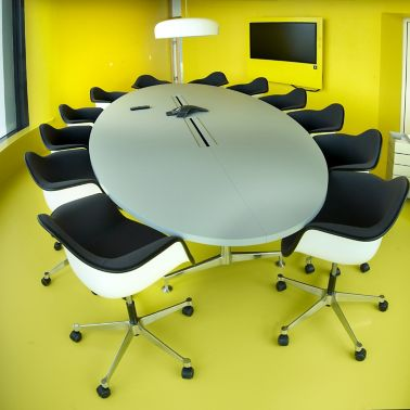 Decorative yellow floor in office meeting room