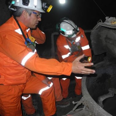 Cosntruction workers in the El Teniente Mine in Chile
