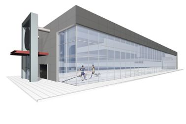 3D rendering of a sandwich panel laminated building with people wearing technical textile