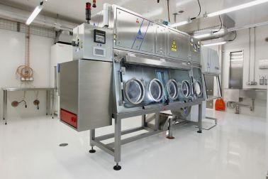 Clean laboratory interior white floor with ESD in Spiez, Switzerland