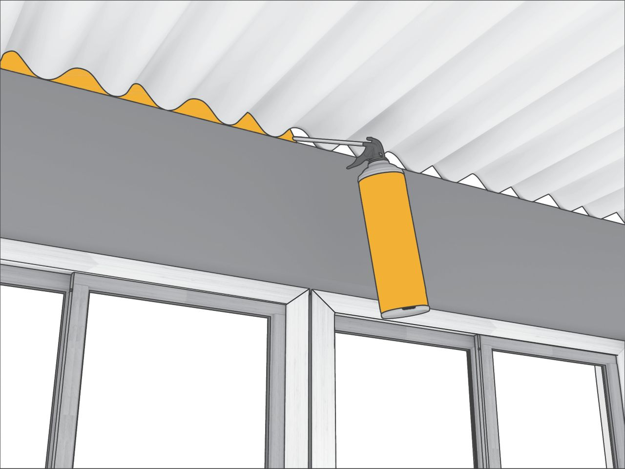 Application of Sika Boom Expansion foam - Illustration