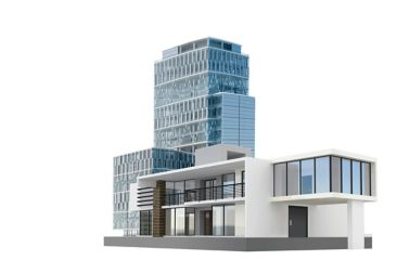 3D rendering of a building with adhesive bonded glass facade