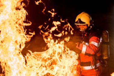 Fireman extinguishing the fire
