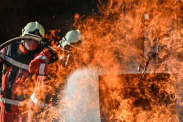 Fireman extinguishing the fire