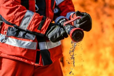 Fireman extinguish the fire with water
