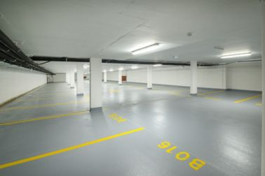 The floor of a car parking garage in Linz, Austria