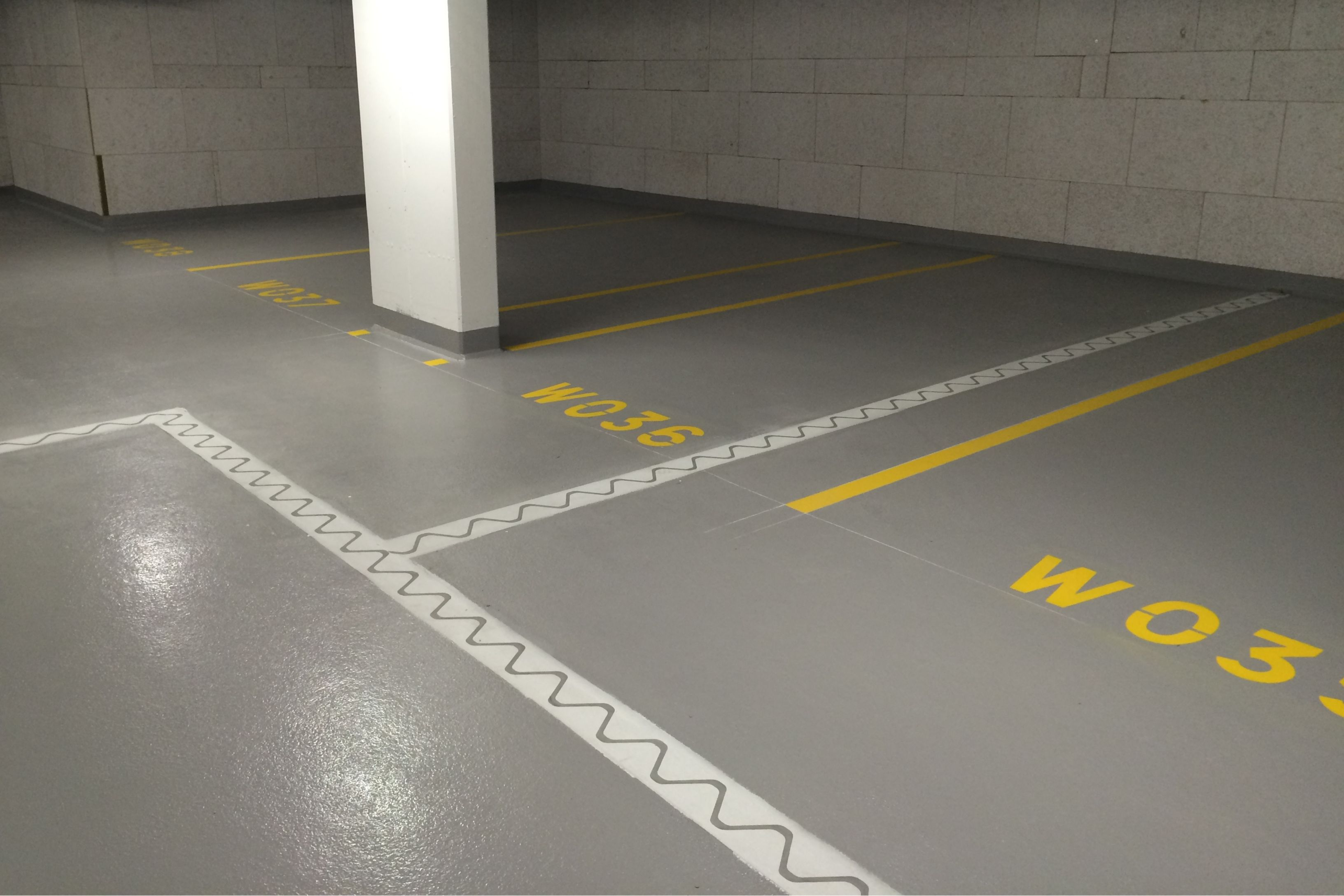 The floor of a car parking garage in Linz, Austria