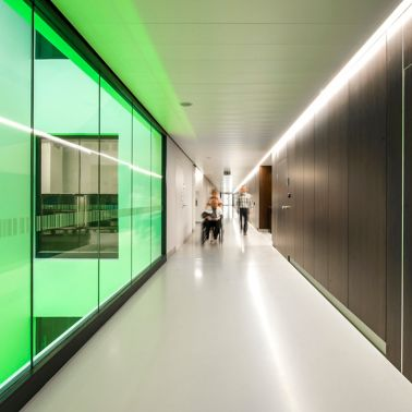 Corridor with Sika ComfortFloor in AZ Groeninge Hospital in Kortrijk Belgium
