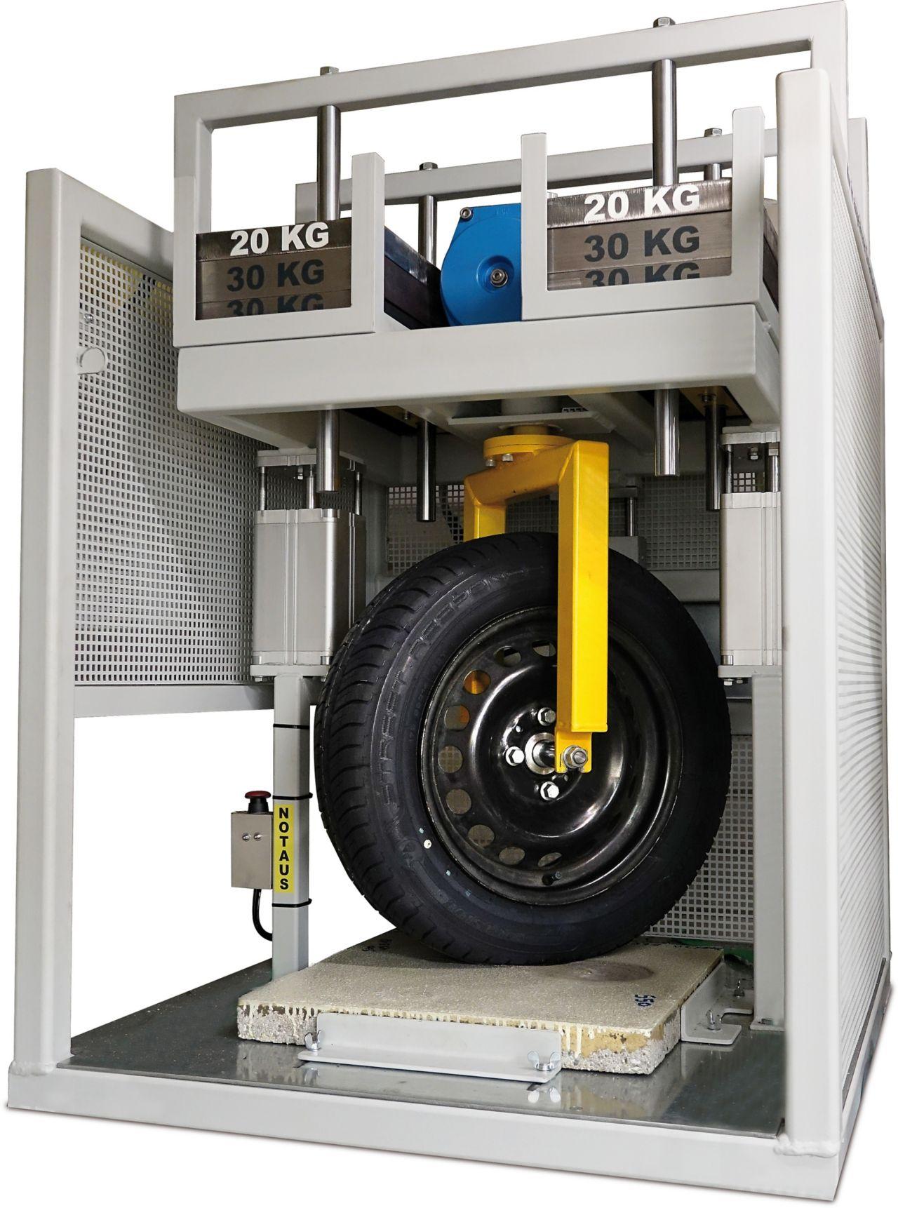 Parking abrasion test to measure car park floor wear resistance under a wheel load