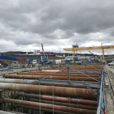 Construction site of the Gayrette-New Airport Metro Line in Istanbul