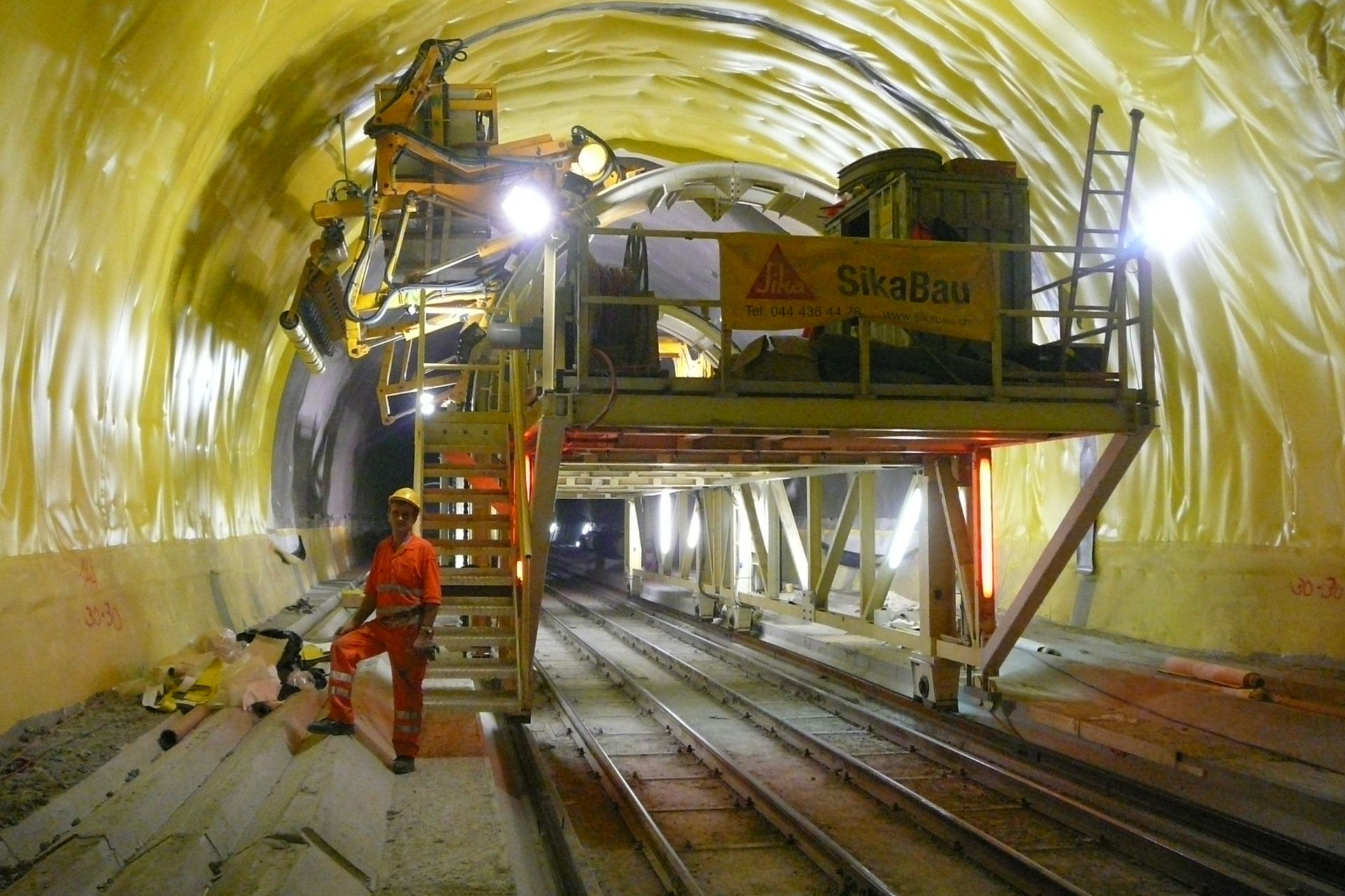 Waterproofing with Sikaplan membrane Gotthard Tunnel in Switzerland