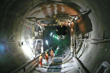 Construction works in Gotthard Tunnel in Switzerland