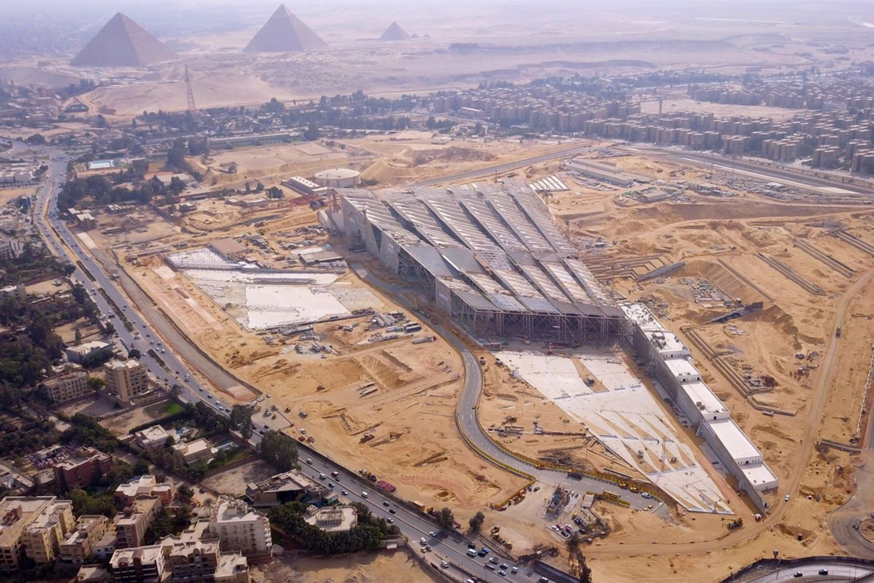 Aerial view of construction of Grand Egyptian Museum in Giza, Egypt