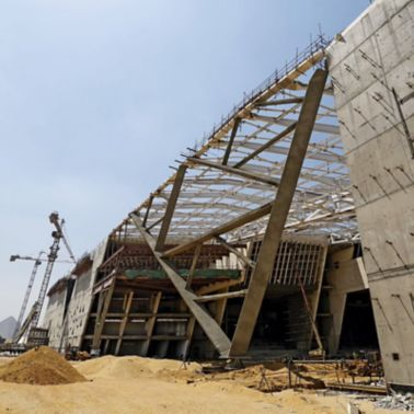 Facade view of construction of Grand Egyptian Museum in Giza, Egypt