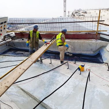 SikaWrap application during construction of Grand Egyptian Museum in Giza, Egypt