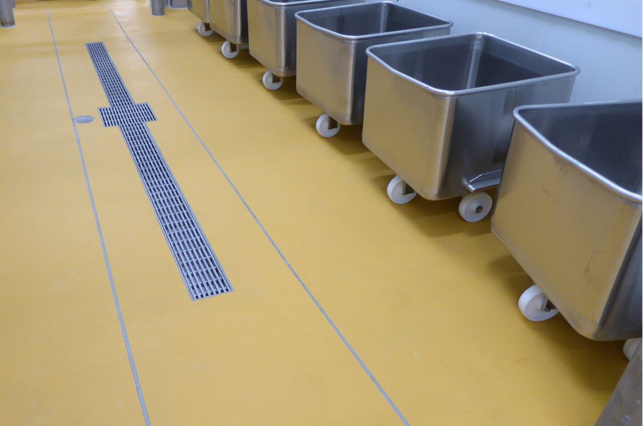Channels and drains used in industrial flooring