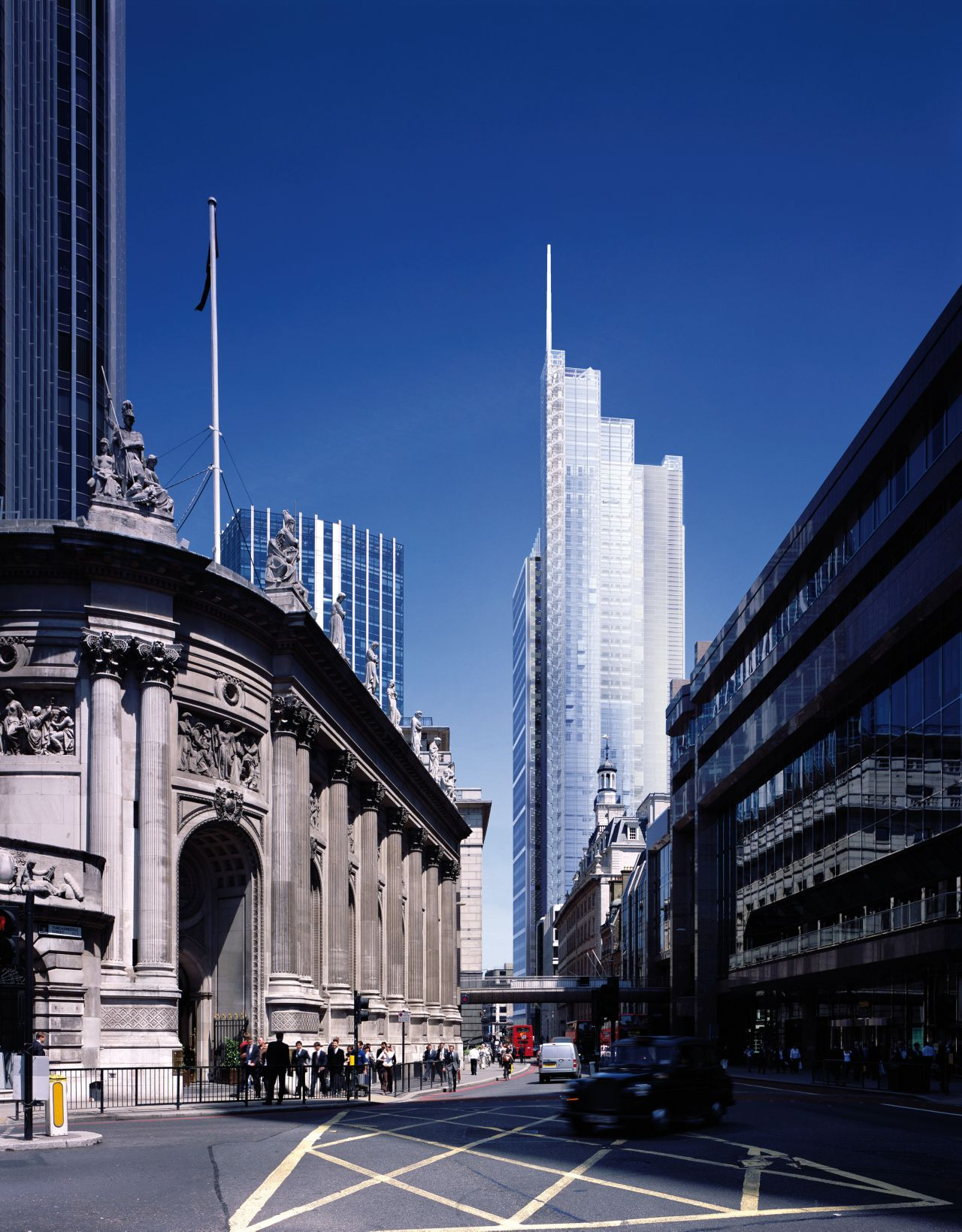Combination of old buildings and modern high-rise building