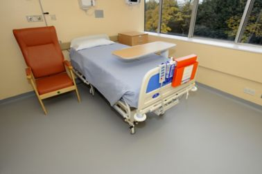 Sika's standard Sika® ComfortFloor® flooring installed in a refurbished single room at York Hospital, UK.