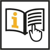 Icon of information manual with hand