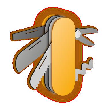 Illustration of yellow multi-tool knife, scissors, corkscrew