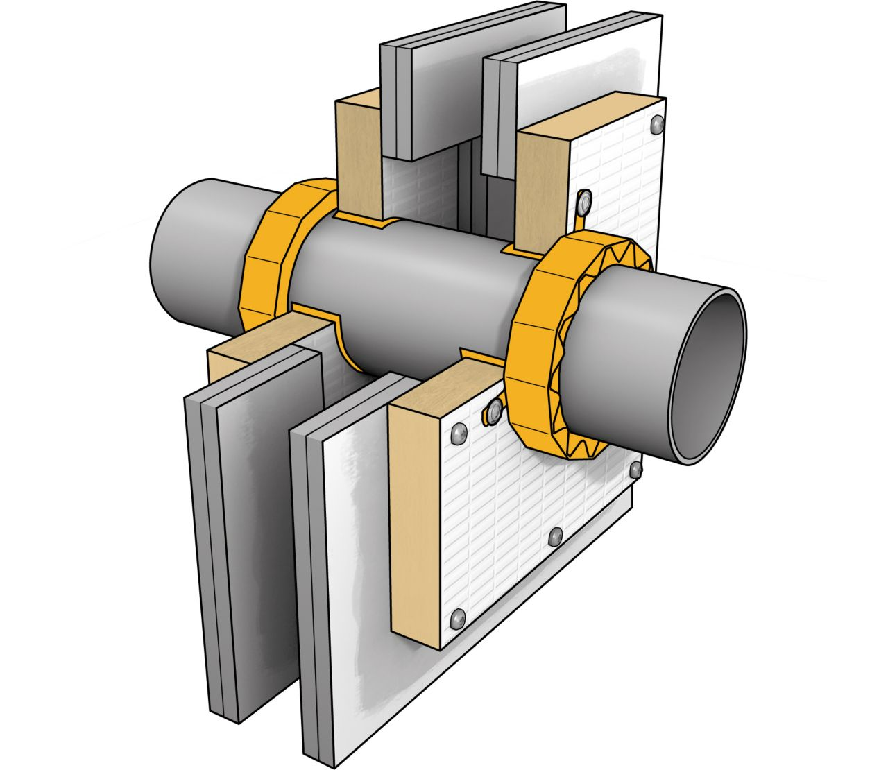 Illustration of passive fire protection collar, board and sealant at pipe penetration