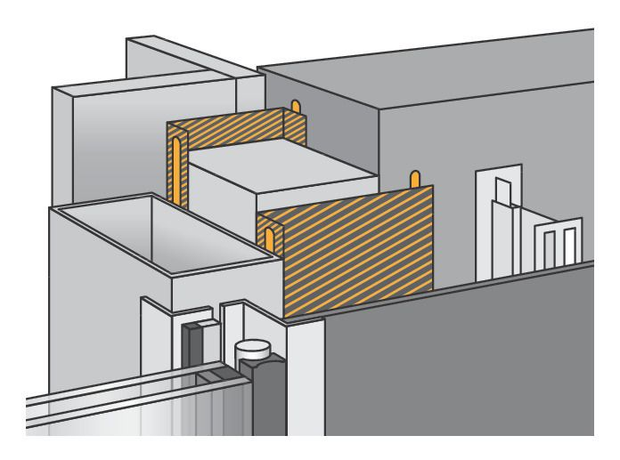 illustration of a Facade structural bonding application
