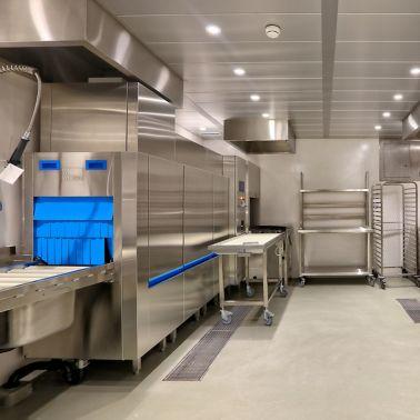 Industrial floor coating applied in the kitchen.