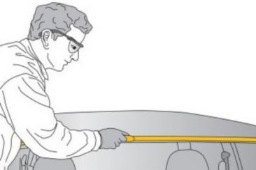 Illustration removal of a windshield