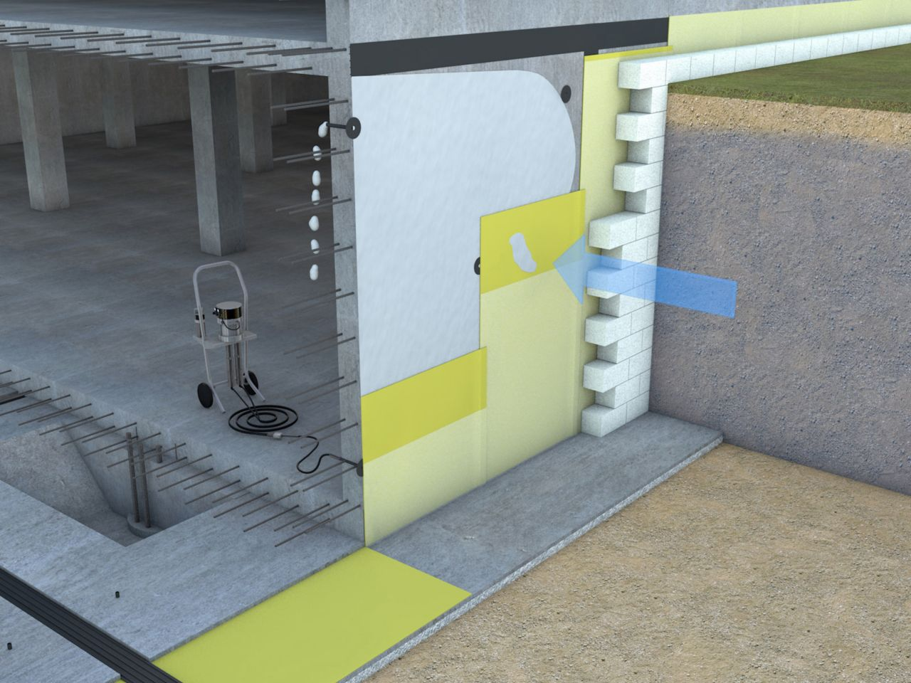 Injection for waterproofing leaking sheet membrane 3d rendering