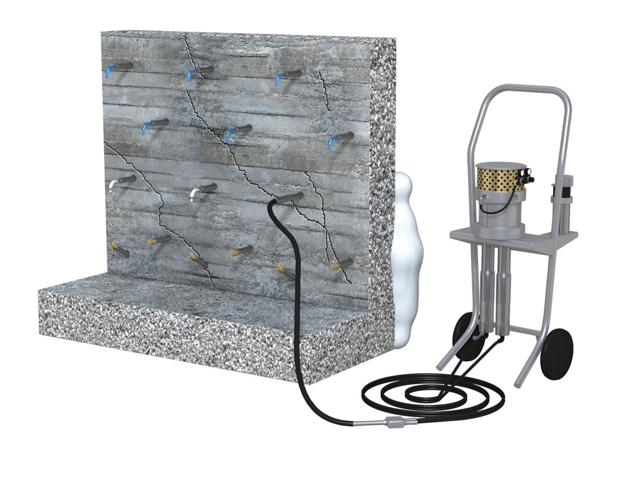 Injection for waterproofing leaking walls and kicker areas 3d rendering