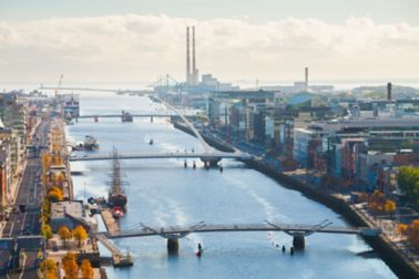 View over Dublin, Ireland of city and riverfront road