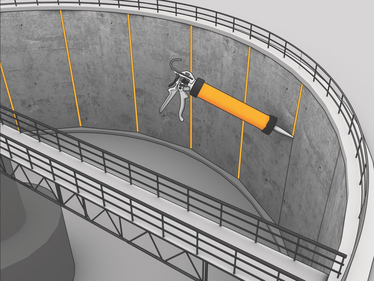 Sealing connection joints in waste water treatment plant with Sikaflex elastic joint sealant