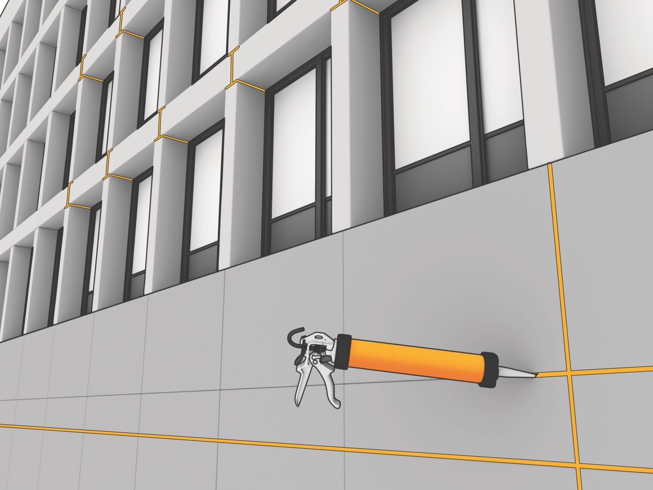 Sealing connection joints in facade with Sikaflex elastic joint sealant