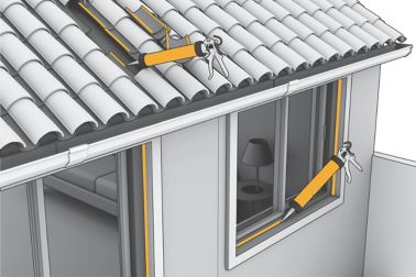 Illustration of roof tile adhesive and window joint sealant being applied