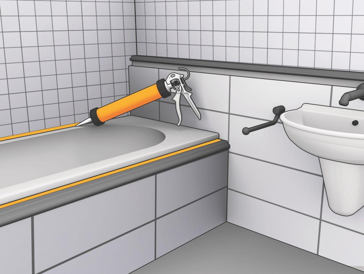 Sealing around bathtub with Sika Sanisil sealant