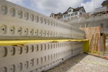 Sika waterbar yellow joint waterproofing at concrete foundation on construction site