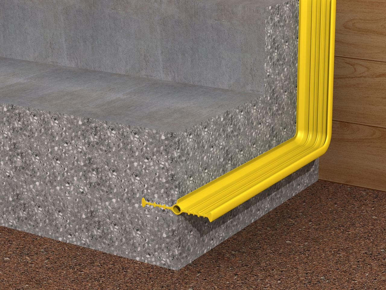 Illustration of Sika yellow waterbar waterproofing at concrete foundation